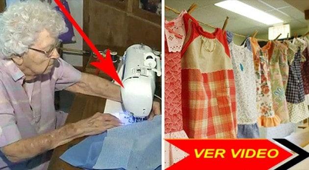 Esta mujer de 99 años hace un vestido nuevo cada día para niñas necesitadas
