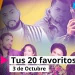 """La lista de """"Tus 20 favoritos"""" 3 de Octubre."""