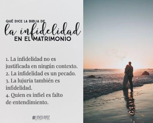La Biblia tiene una postura firme en cuanto a la infidelidad, dice que el matrimonio es algo santo y que debe ser respetado.